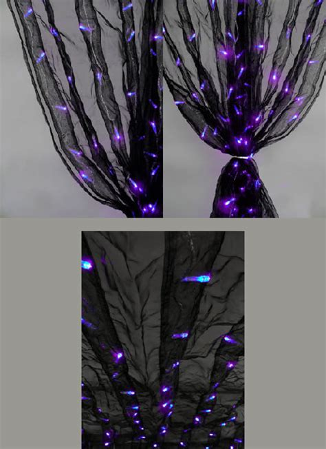 black organza curtains 8ft black organza curtain with purple led lights