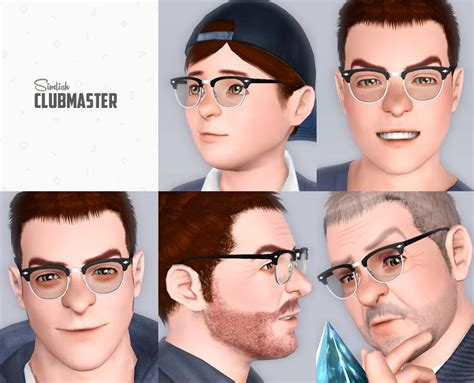 Frame Kpop Custom mod the sims simlish clubmaster eyeglasses