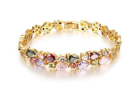 Kredy shopping: 18K Multi Gemstone and Diamond Tennis Bracelet Gold Heart Bracelets For Women
