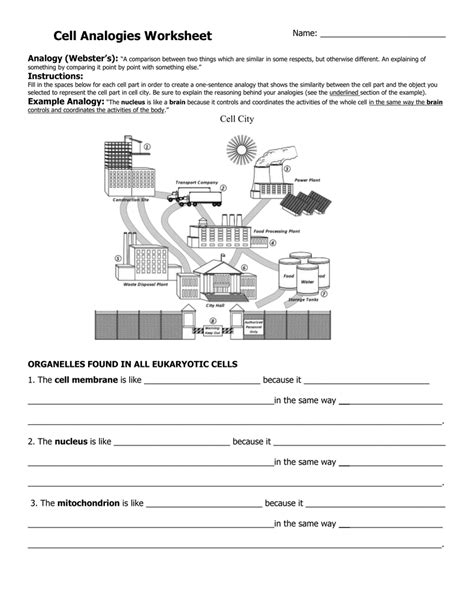 Cell School Analogy Worksheet by Cell Analogy Worksheet Free Worksheets Library