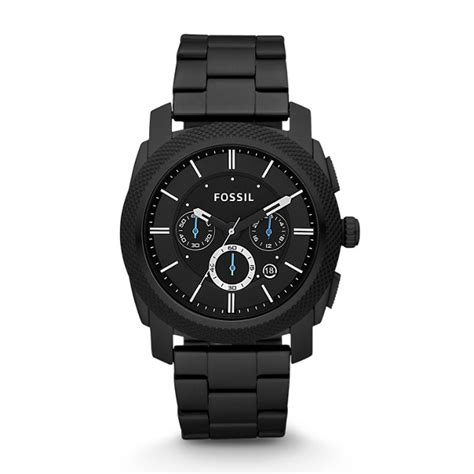 machine chronograph black stainless steel fossil