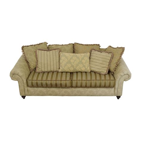 green striped sofa green striped sofa 45 off cb2 brown leather three cushion