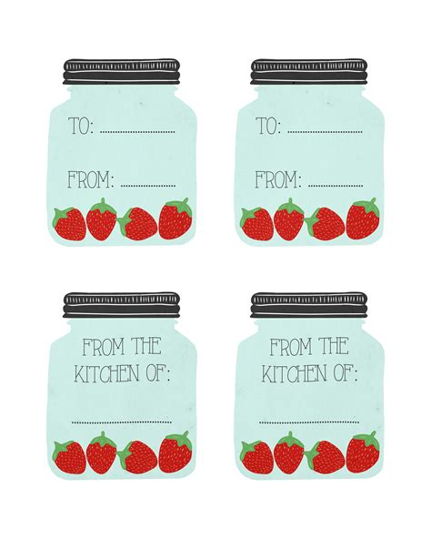 free printable recipe cards gifts jar 6 best images of cute printable recipe cards strawberry