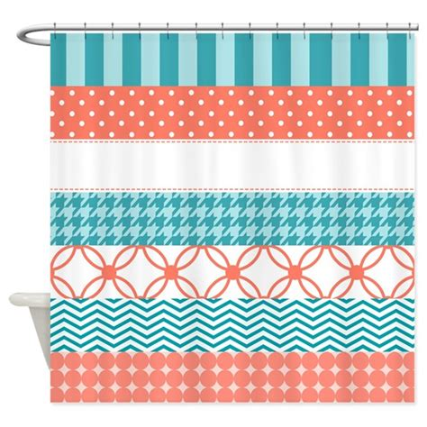 australian pattern tape coral teal washi tape pattern shower curtain by