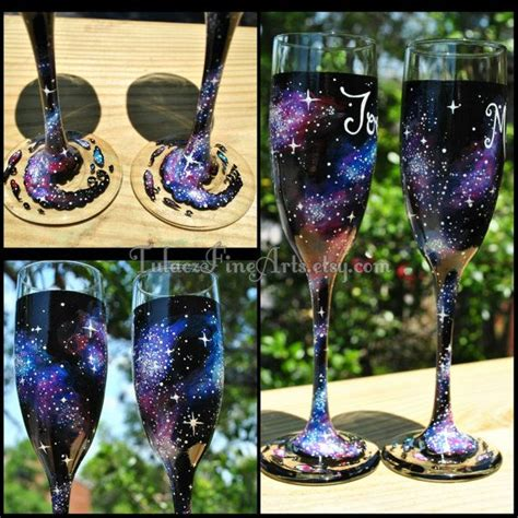 painted cosmos chage glasses galaxy by