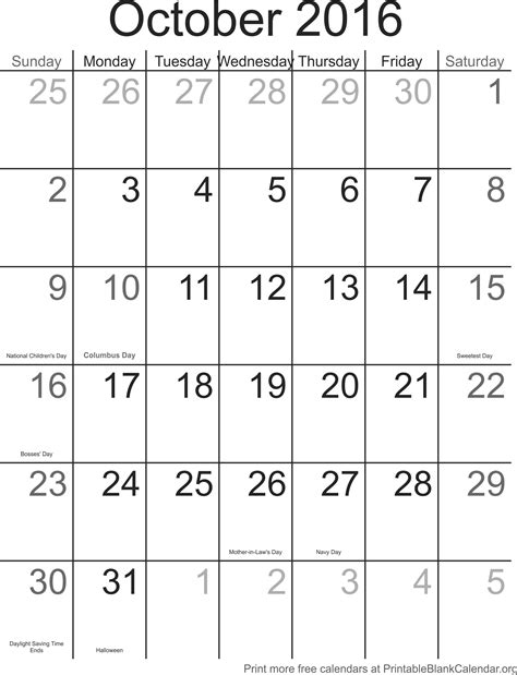 Calendar For 2016 With Holidays October 2016 Calendar With Holidays Printable Blank