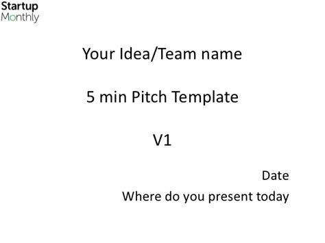 startup pitch template startup monthly 5 min pitch template