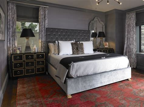 bedroom beautiful grey velvet tufted headboard dark gray bedroom with dark gray grasscloth wallpaper