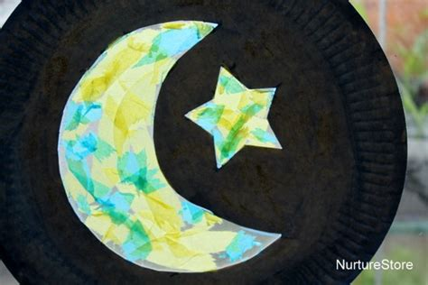 moon craft for paper plate moon ramadan craft nurturestore