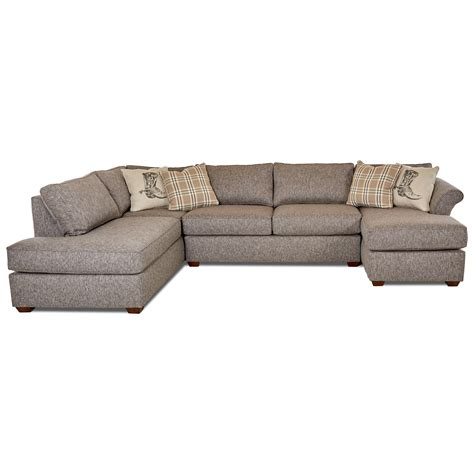3 sectional sofa with chaise klaussner jaxon three sectional sofa with flared