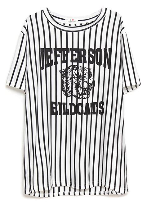 Lettering Stripe Shirt white vertical stripe tiger letters print t shirt