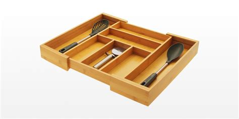 Flatware Drawer Storage by Expandable Flatware And Drawer Organizer Bamboo Kitchen