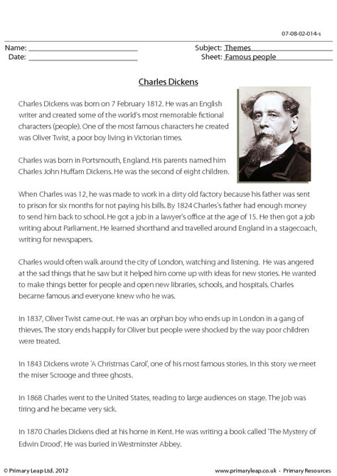biography year 4 famous people reading comprehension charles dickens