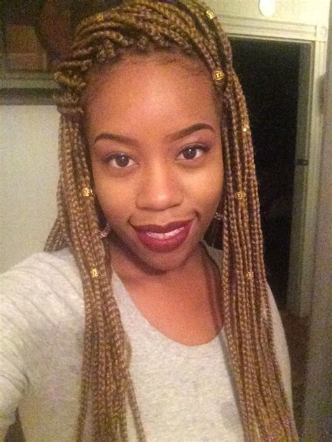 Honey blonde braids with beads | Just Face it...Hair goes ... Box Braids With Bandana