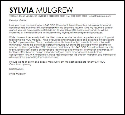 Sap Bw Consultant Cover Letter by Sap Fico Consultant Cover Letter Sle Livecareer
