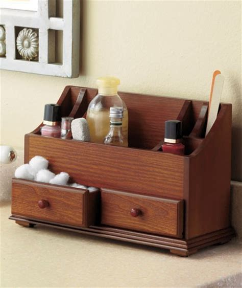 Vanity Makeup Organizer by New Wooden Vanity Cosmetic Storage Organizer Caddy