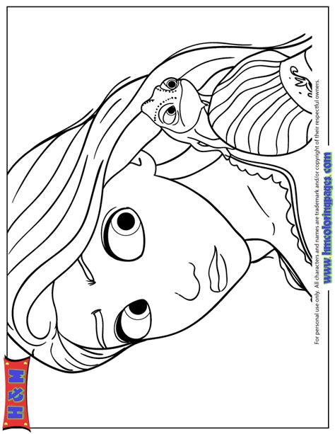 rapunzel with pascal the chameleon coloring page h m