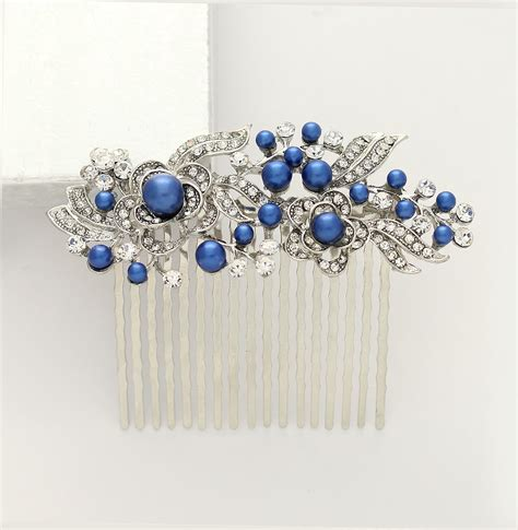 Royal Blue Hair Accessories For Weddings by Something Blue Hair Comb Royal Blue Bridal Comb Blue Wedding