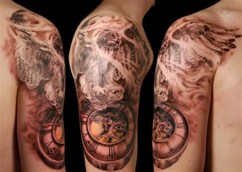 clock tattoo sleeve flying eagle and clock on half sleeve