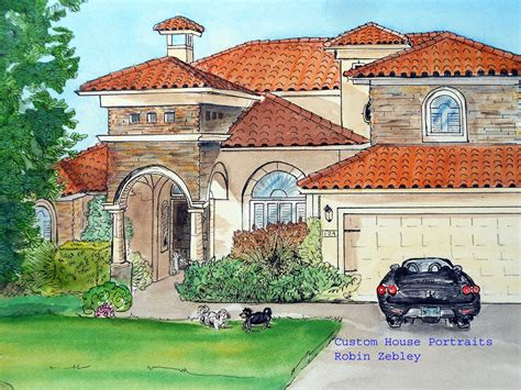 House Portrait Artist by Custom House Portraits By Artist Robin Zebley