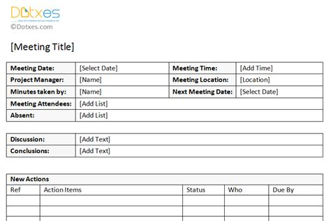 meeting minutes template free printable formats for word
