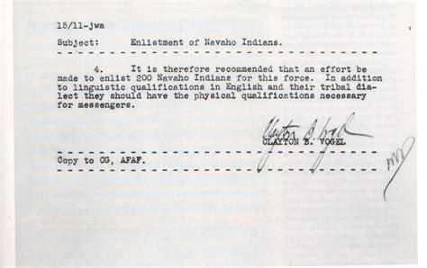 Reference Letter Code Words Memorandum Regarding The Enlistment Of Navajo Indians