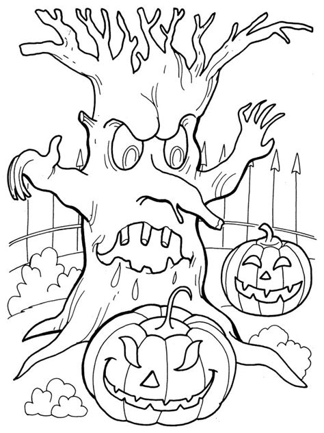 Spooky Tree Coloring Page | halloween coloring pages