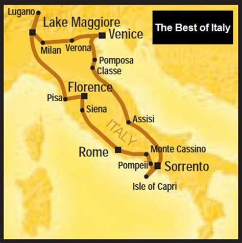 itinerary map      italy visit aaa