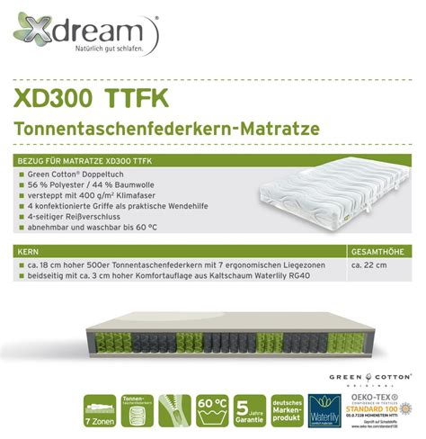 matratze xd300 ttfk xdream tonnentachenfederkern matratzen h2o betten