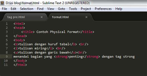 format html adalah format karakter dan format teks pengenalan perancangan web