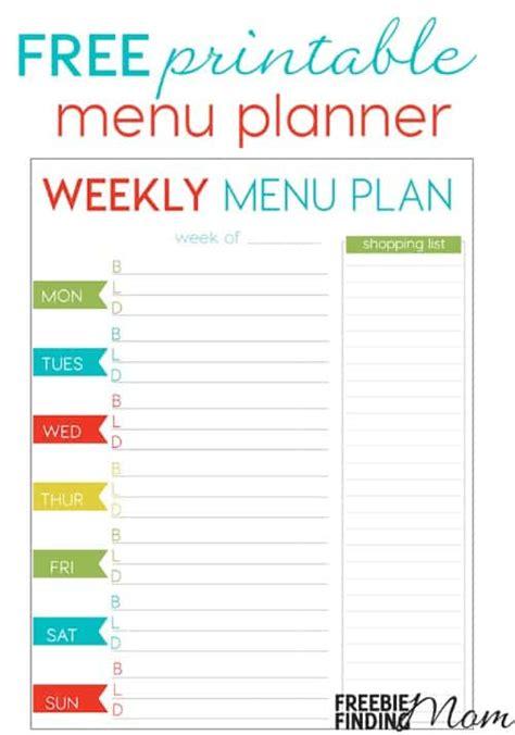 free printable dinner planner free weekly menu planner printable freebie finding mom
