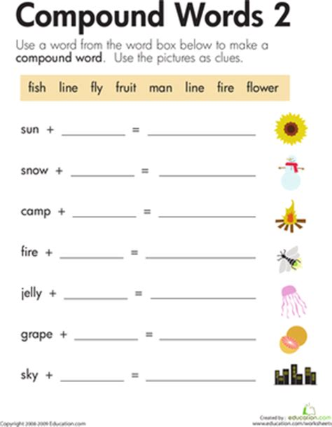 word addition compound words 2 worksheet education