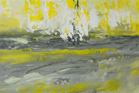 painting greys sky and sea by qiqigallery 36 quot x 12 quot abstract art yellow