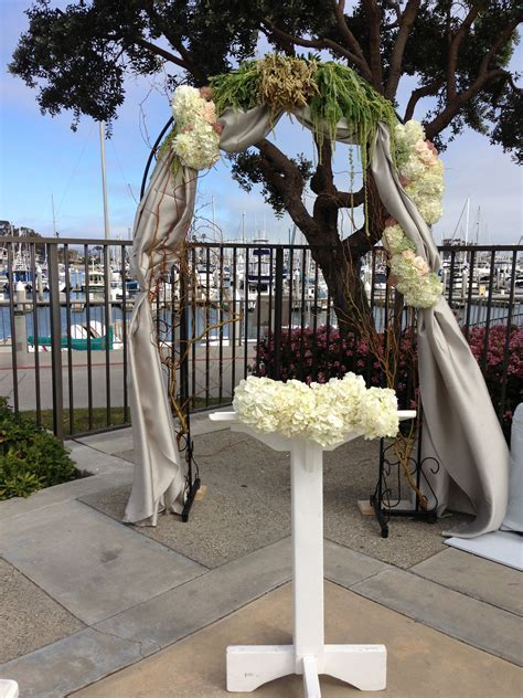 Rustic Wedding Arch Draped Fabric and Fresh Flowers White
