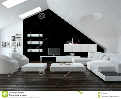 superb black living room cabinets #1: modern-black-white-loft-living-room-interior-design-skylights-sloping-ceiling-decor-suite-41965563.jpg