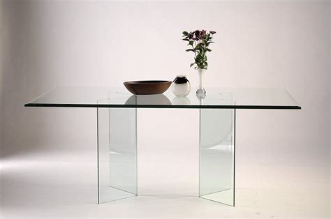 v shape all glass dining table base set