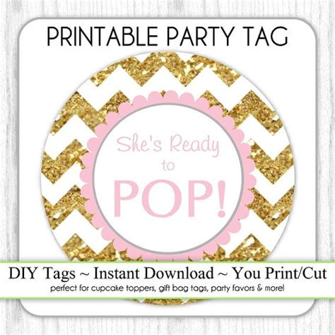 Ready Instan Yellow gold and pink she s ready to pop instant by delightprintables baby shower she s