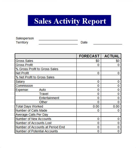 sales activity report template excel sales report template 9 free pdf doc
