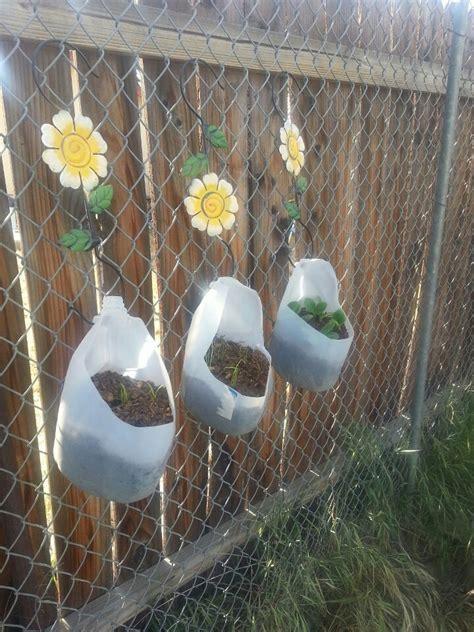 milk jug garden milk jugs garden vertical herb garden