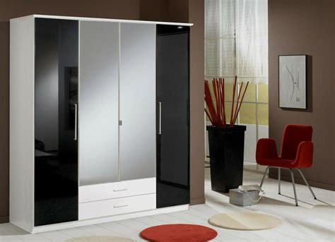 And White Wardrobe - german 4 door black gloss and white mirror wardrobe new ebay