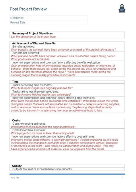 post project review template page 1 ape project management