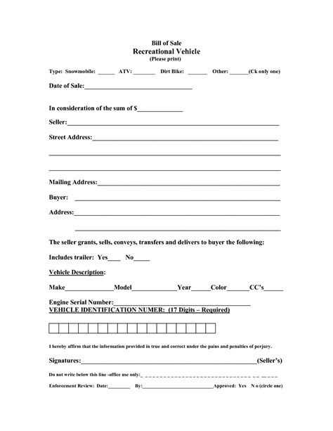 Free Printable Printable Bill of sale for travel trailer