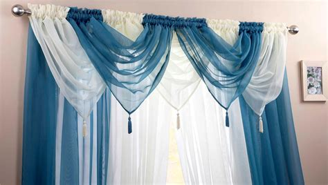 Teal Swag Curtains Teal Ivory Voile Swags Curtain Panels 9 Peice Set 48