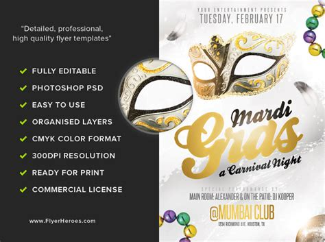 Mardi Gras Flyer Template golden mardi gras flyer template flyerheroes