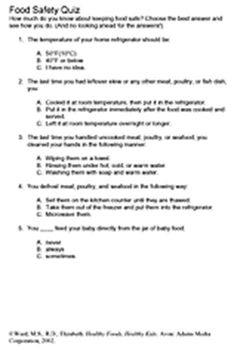 quiz on food safety printable familyeducation
