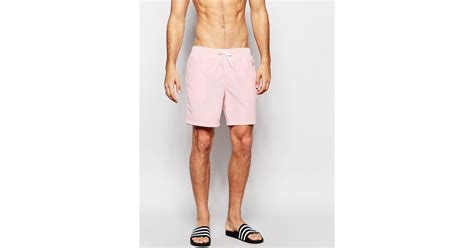 light pink shorts mens asos swim shorts in light pink mid length in pink for