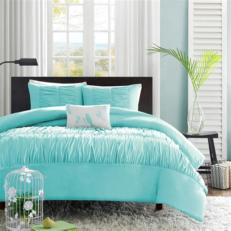 Beautiful White Comforter Sets by Beautiful Soft Teal Blue Aqua White Grey Ruffled Ruched