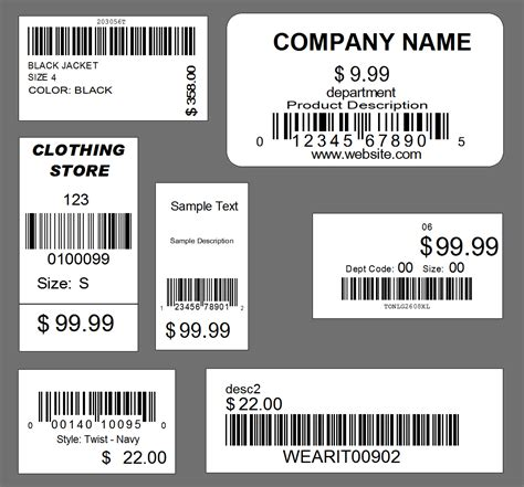 barcode label tag template design service retail