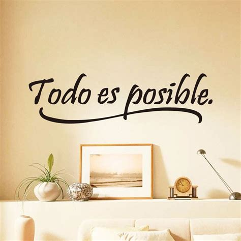 quotes home decor dctop everything is possible spanish inspiring quotes wall