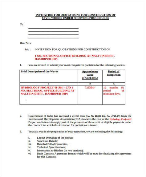 construction quotation 9 construction quotation free sle exle format